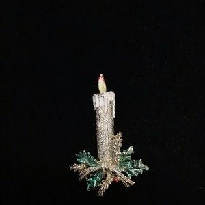 Silver Candle Festive Brooch With Green Leaves